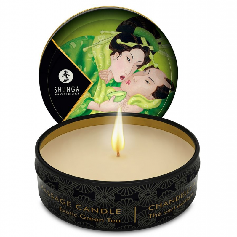 SHUNGA MINI CARESS BY CANDELIGHT VELA MASAJE Te VERDE 30ML