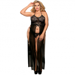 SUBBLIME QUEEN PLUS SET TOP VESTIDO Y TANGA NEGRO