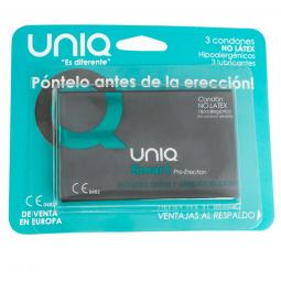 UNIQ SMART PRE ERECCIoN PRESERVATIVO SIN LATEX 3UDS